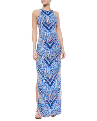 Printed Jersey Fitted Maxi Dress