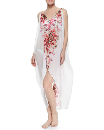 Carnival Floral-Print Sheer Chiffon Coverup