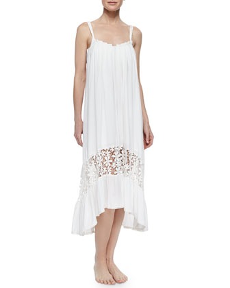 Festival Lace-Hem Pleated Coverup