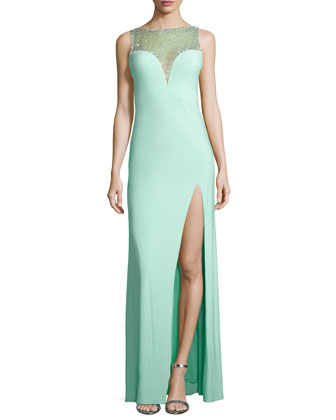 Beaded-Illusion Chiffon Gown, Light Mint