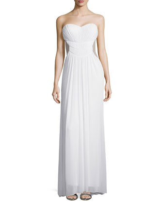 Strapless Sweetheart Chiffon Gown, White