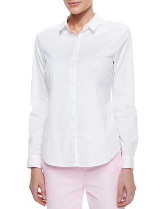 Long-Sleeve Cotton Stretch Button-Front Shirt & Izzie Twill Capri Pants ...