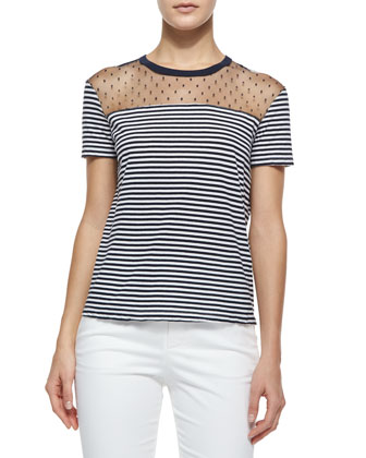 Short-Sleeve Striped Tee W/ Swiss Dot Yoke & Straight-Leg Gabardine Ankle ...