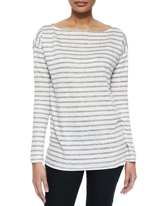 Long-Sleeve Striped Linen Tee, Gray