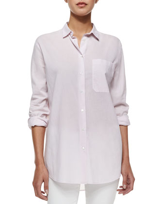 Long-Sleeve Boyfriend Shirt, Lavender