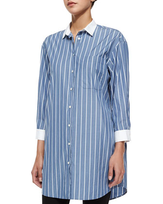 Long-Sleeve Striped Boyfriend Shirt