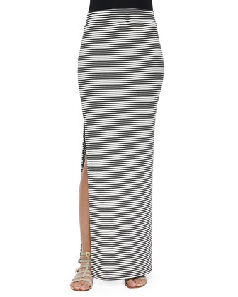 Long Slim Ribbed Cami & Striped Side-Slit Maxi Skirt