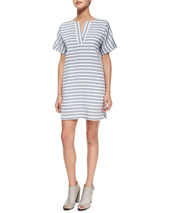 Short-Sleeve Striped Shift Dress