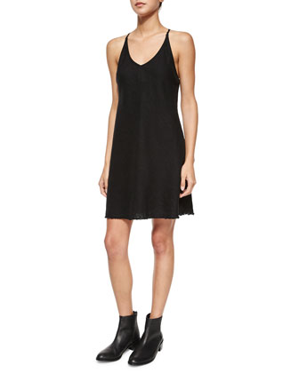 Deep-V Linen Shift Dress