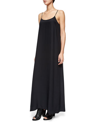 Spaghetti-Strap Silk Maxi Slip Dress