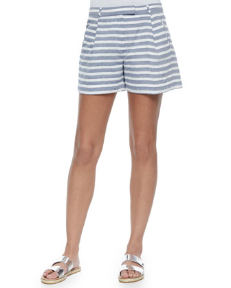 Cap-Sleeve Boxy Sweater & Pleated Striped Boyfriend Shorts