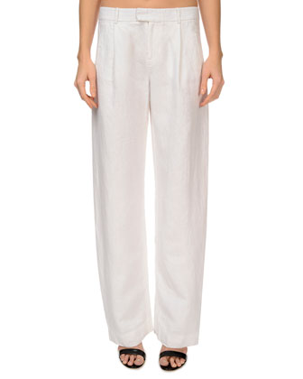 Pleated Linen Boyfriend-Style Pants