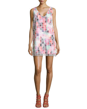 Key West Lights-Print Sleeveless Dress