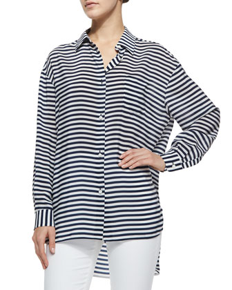 Long-Sleeve Striped Crepe de Chine Tunic