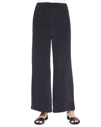 Full-Leg Silk Pants, Black, Women's