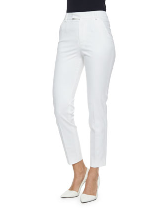 Straight-Leg Gabardine Ankle Pants, White