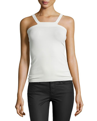 Knit Square-Neck Tank, Cream