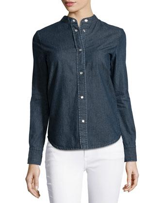 Long-Sleeve Denim Shirt, Blue