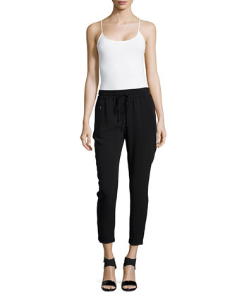 Iconic Taylor Drawstring Ankle Pants, Black