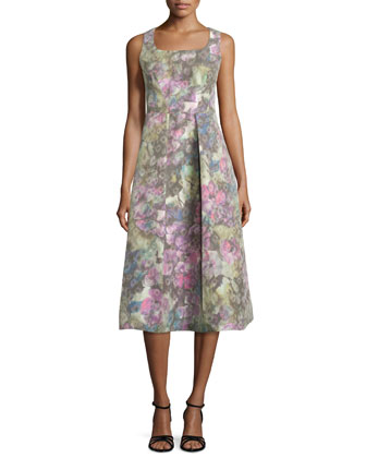 Sleeveless Muted Floral-Print Dress