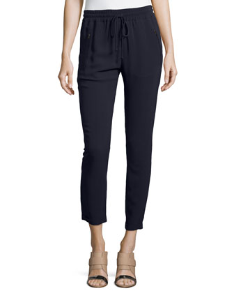 Iconic Taylor Drawstring Ankle Pants, Navy