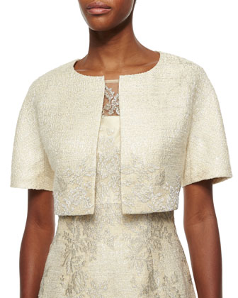 Short-Sleeve Lace Tweed Jacket