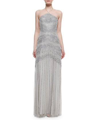 Beaded Tulle Halter Gown, Silver