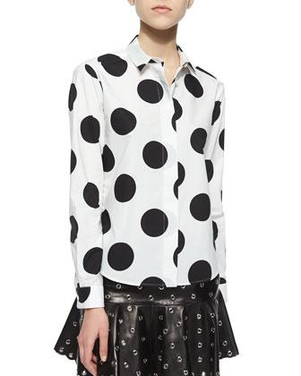 Macro Polka Dots Printed Blouse