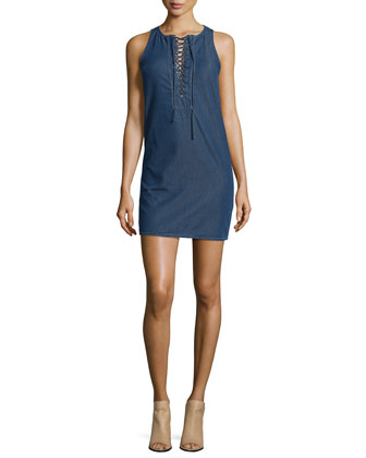 Sleeveless Lace-Up Denim Dress