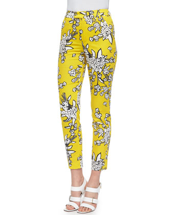 Bouquet-Print Slim Ankle Pants