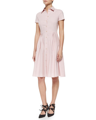 Short-Sleeve Full Skirt Shirtdress