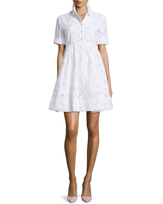 Tobin Short-Sleeve Lace Dress, White