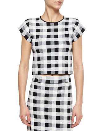 Seblyn Magnified Plaid Crop Top