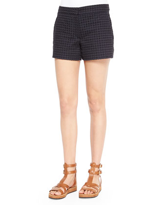 Jayton Long-Sleeve Cotton Blouse & Blaynee Dotted Eyelet Shorts