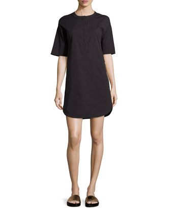 Floryn Half-Sleeve Poplin Dress