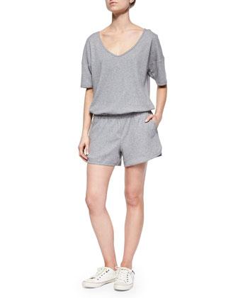 Jiyan Sweatshirt Knit Short Jumpsuit