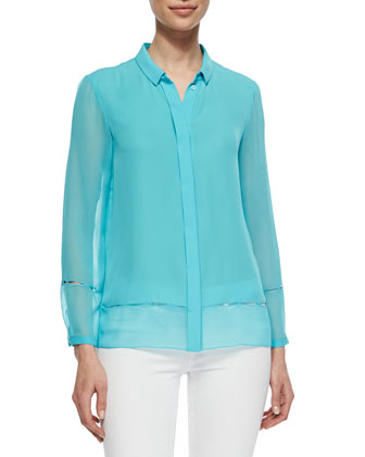 Dylan Pintucked Silk Blouse