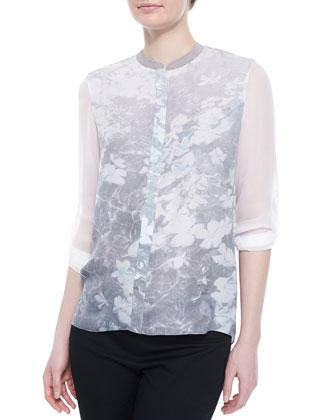 Chelsea Floral-Print Silk Blouse, Chlorophyll