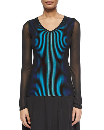 Sidney Ribbed Sheer-Sleeve Sweater