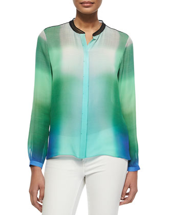 Chelsea Skyscape-Print Blouse, Green/Blue/White