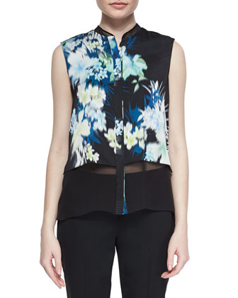 Eve Sleeveless Floral-Print Blouse & Jillian Slim Wool Pants