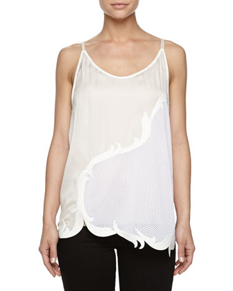 Sleeveless Silk Perforated Top