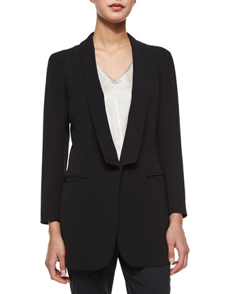 Soft Shawl Collar One-Button Blazer, Deep V-Neck Silk Shell & Pinstripe ...