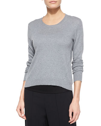 Cotton-Cashmere Long-Sleeve Sweater