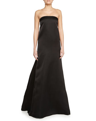 Strapless Satin Dress W/ Fishtail Skirt