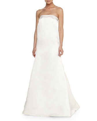 Strapless Satin Dress W/ Fishtail Skirt, White