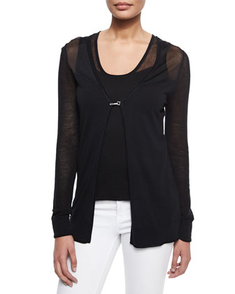 Allison Long-Sleeve Cardigan Sweater