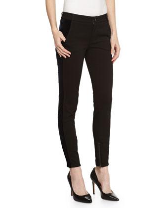 Velvet-Trim Skinny Pants