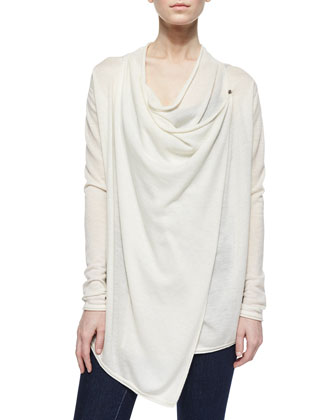 Maritza Cashmere Draped Sweater, Tan