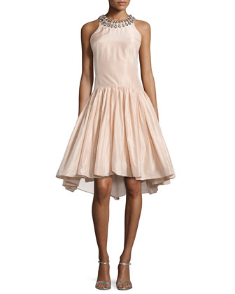 Beaded-Neck Silk Dress, Confection